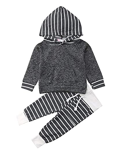427c48d31 Amazon.com  Asisol Baby Boys Girls Striped Outfits Long Sleeve ...