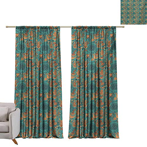 Anzhutwelve Vintage,Soundproof Curtain Nature Scroll Art Pattern with Birds Flowers Teapot and Cups W84 x L96 Blackout Drapes for Baby Bedroom