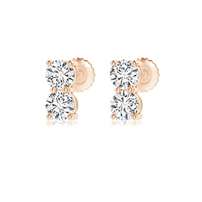 e457a2245d21 Amazon.com  Round Lab Grown Double Diamond Stud Earrings in 14K Rose Gold   Jewelry