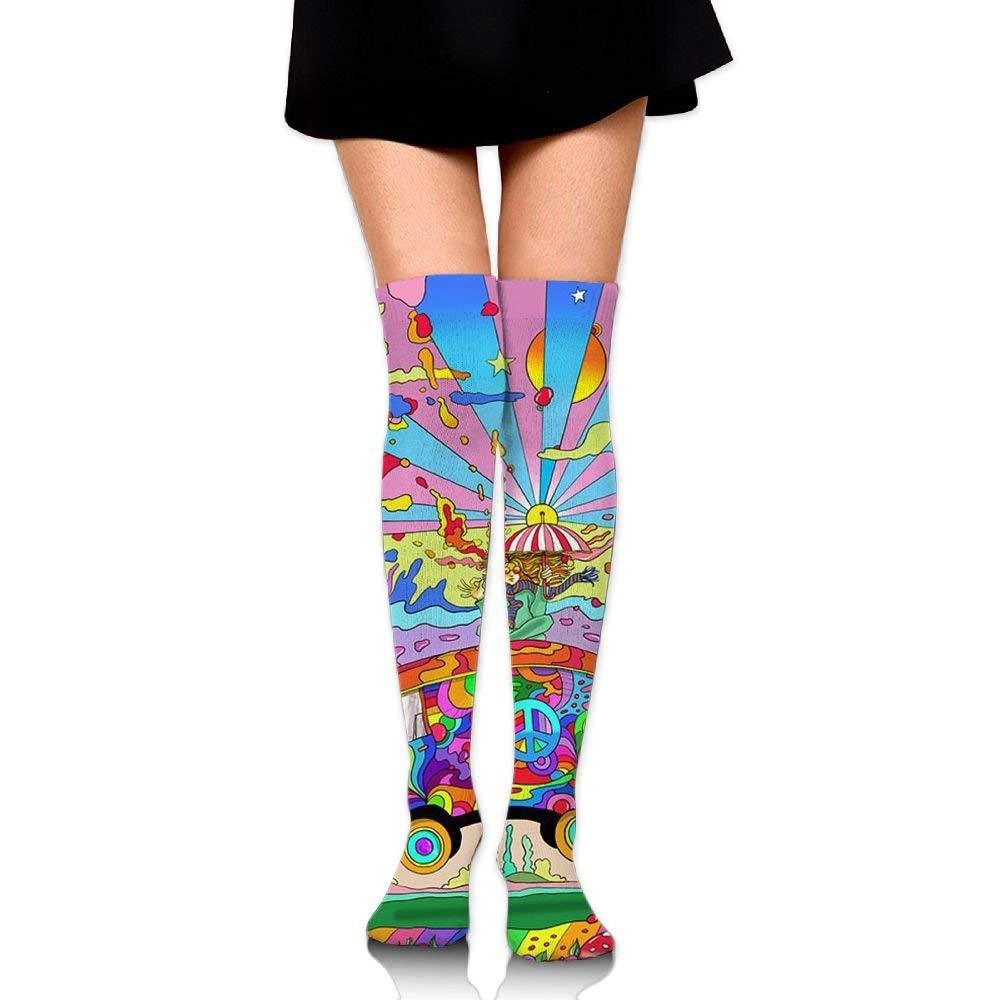 ouyjian Women Long Tube Dress Socks Thigh High Over Knee Trippy Acid Cartoon Bus Legging Slim Look