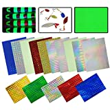 Assorted Color Fishing Lure Tape,15Packs Holographic Prism Tape Laser Lure Metal Hard Bait Stickers Reflective Film Artificial Bait DIY Craft Lure Accessories