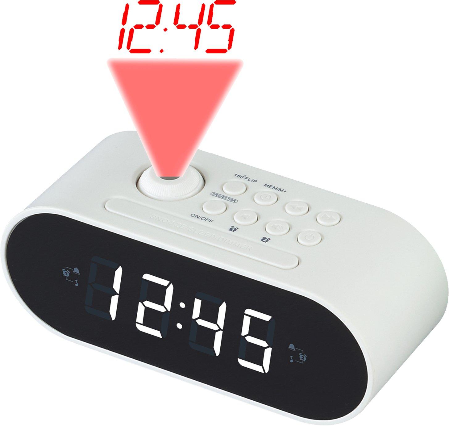 Denver CRP-717WHITE Reloj Analógica Blanco - Radio (Reloj, Analógica, FM,PLL, 87,5-108 MHz, LED, 2,29 cm (0.9