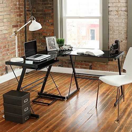 {US STOCK}Teekland Office/Computer Desk with Keyboard Tray,3-Pieces Corner Computer/Laptop Home Table(Black Tempered Glass,L-Shape) (Stalinite-Black) (Table Desk Glass)