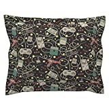 Roostery Technology Gadgets Geek Retro Outdated Technology Gaming Pillow Sham by