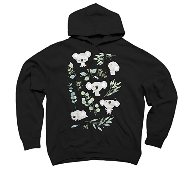 Koala and Eucalyptus Pattern Women's Small Black Graphic Pullover Hoodie