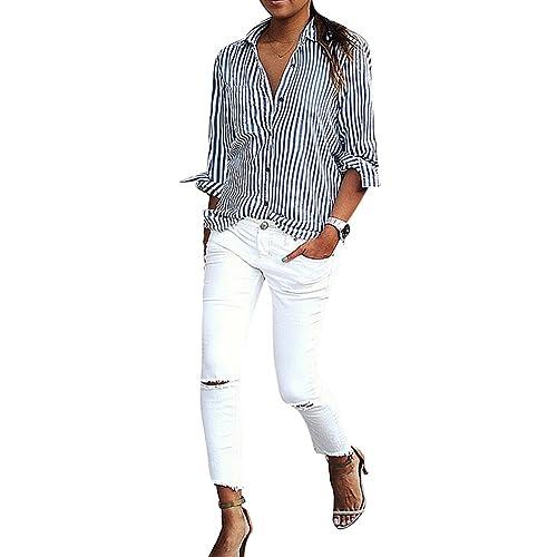 Blusas Talla Grande Mujeres Tshirts Suelto Camisas Mangas Largas Blusa Rayas Trabajo Casual Rosa Azu...