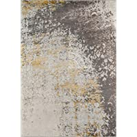 Momeni Rugs LUXE0LX-12GLD2376 Luxe Collection Power-Loomed Contemporary Area Rug, 23 x 76, Gold