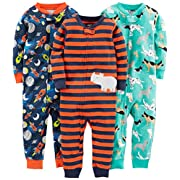 Simple Joys by Carter's Baby Boys' 3-Pack Snug Fit Footless Cotton Pajamas, Dogs/Space/Rhino, 12 Months