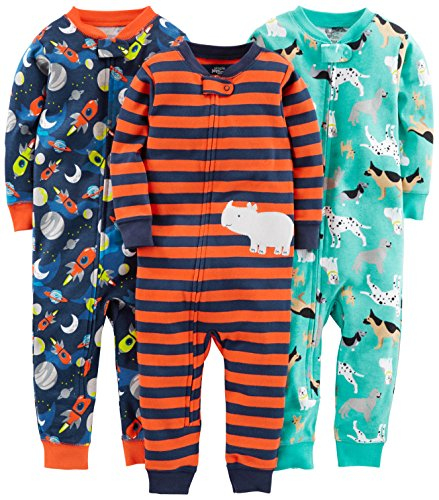 Simple Joys by Carter's Baby Boys' 3-Pack Snug Fit Footless Cotton Pajamas, Dogs/Space/Rhino, 24 Months