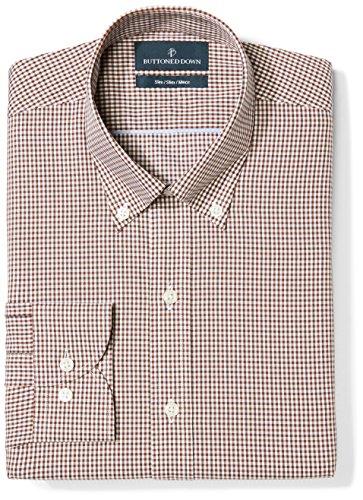 BUTTONED DOWN Men's Slim Fit Button Collar Pattern Non-Iron Dress Shirt, Brown Gingham, 17.5