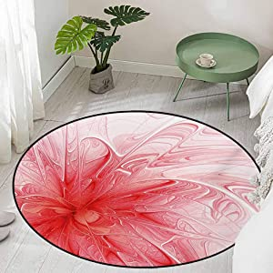 Round Office Chair Floor Mat Foot Pad Abstract Background with Floral Detail and a Splash of Colored Paint Artwork Diameter 66 inch Bath Rugs for Bathroom