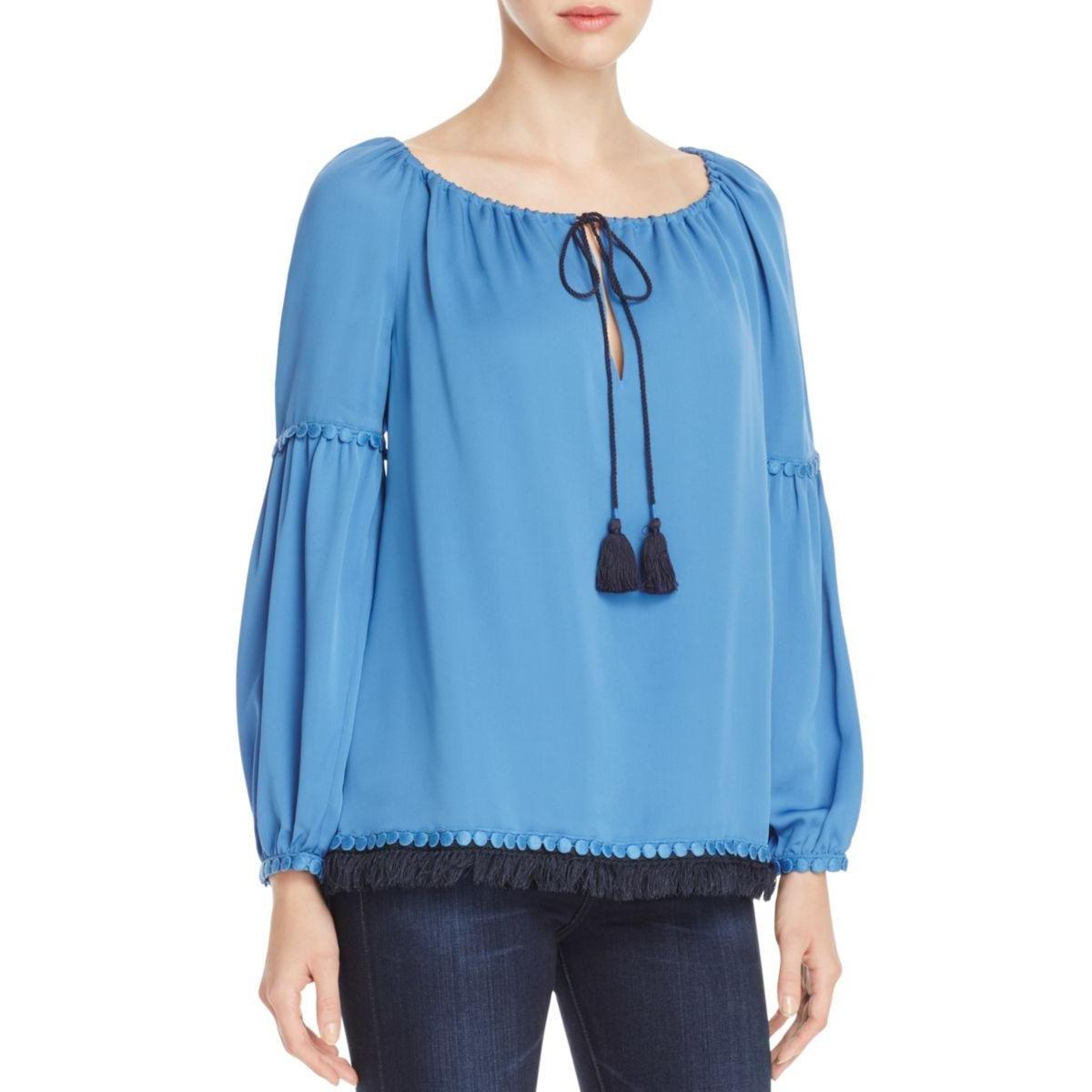 Tory Burch Womens Silk Fringe Tunic Top Blue 6