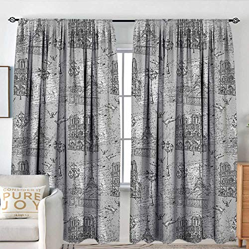 Petpany Customized Curtains Paris,Vintage Monochrome Image Seine River Notre Dame Cute Doves Scenes from Europe, Grey Black White,for Room Darkening Panels for Living Room, Bedroom 54