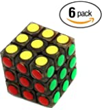 6 Pack Party Favors Magic Speed Cube, Black Stickerless Puzzle Cube Great Brain Training Game, 3X3 Easy Turning and Smooth Play, Educational Toy Logical Fun.