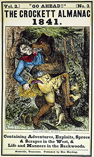 Davy Crockett (1786-1836) Namerican Soldier And Frontiersman Davy Crockett With The Help Of His Dog Fighting A Bear On The Cover Of The Crockett Almanac Nashville 1841 Poster Print by (24 x 36)