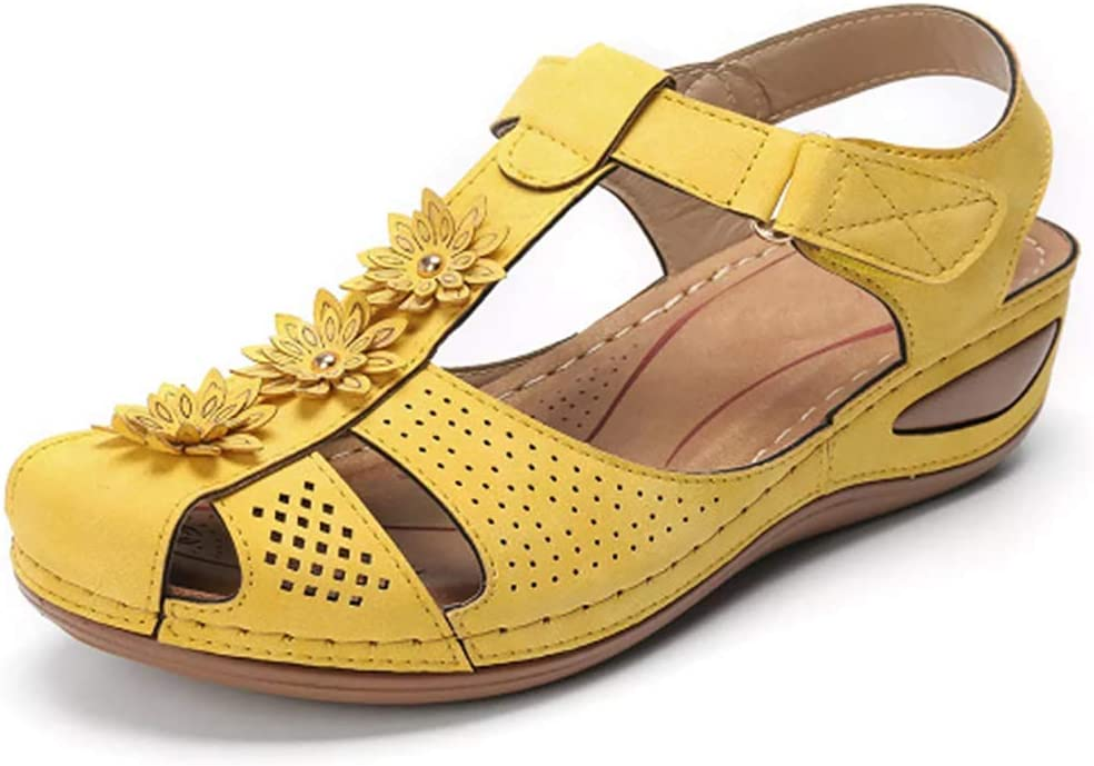 Flower Outdoor Sandals Shoes,Yellow