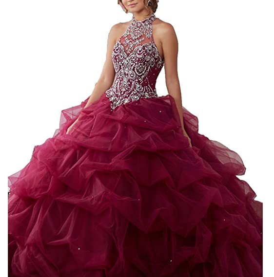 Wenli 2017 Women High Neck Beaded Ball Gowns Long Quinceanera ...