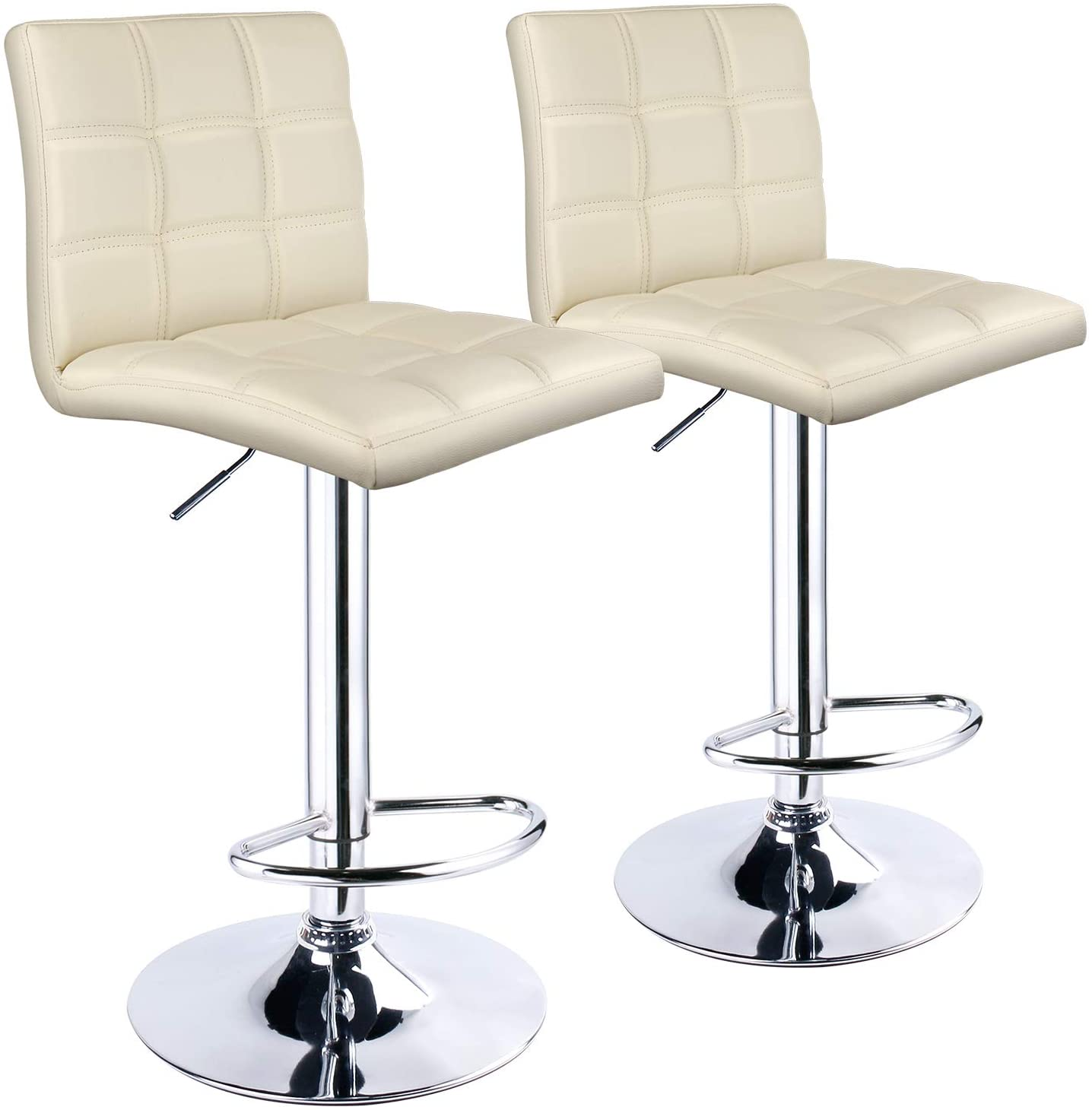Leopard Adjustable Bar Stools Square Back, PU Leather Padded with Back, Set of 2 (Cream)