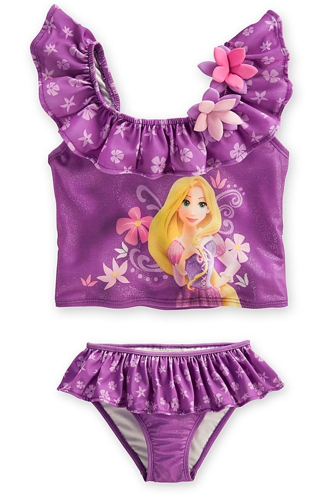 Disney Store Girls Princess Rapunzel 2-Piece Swimsuit Size Medium 7/8 Purple
