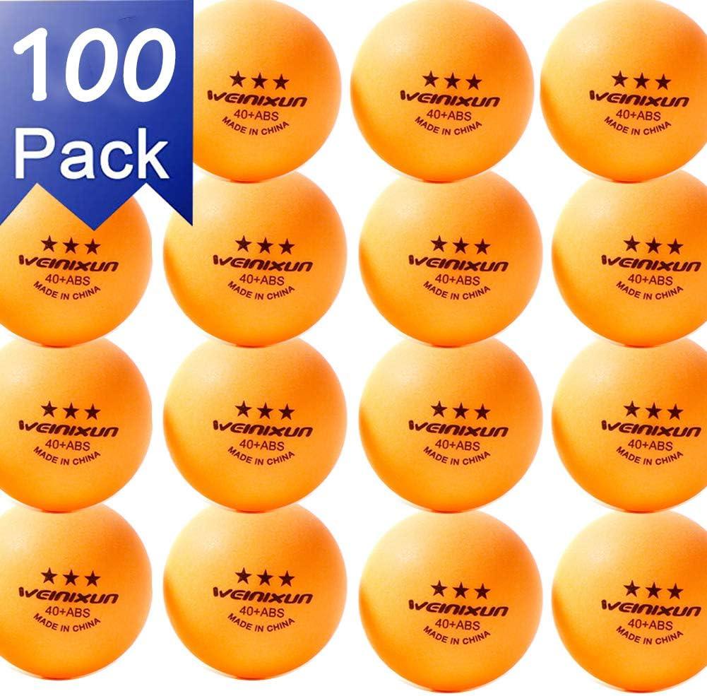 NXY Paquete de 100 3 Estrellas 40+ Tenis de Mesa Pelotas Práctica Avanzado Ping Pong Bola (Amarillo Blanco)
