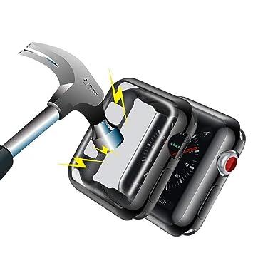 Funda Apple Watch 38mm Transparente Protector de Pantalla Completo TPU Suave Ultra Delgado Protectora Carcasa para Reloj Apple Watch Series 3/2(no ...