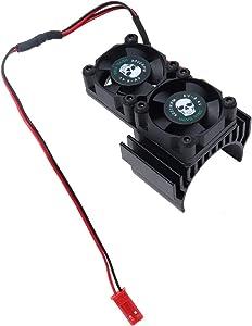 REhobby RC Motor Fan Radiator Aluminum Heat Sink Twin Cooling Fan for 1/8 1/10 RC Car 540/550 Track HSP HPI Wltoys Himoto Tamiya (Black)