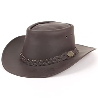 ac3a213e960 Hawkins Genuine Leather Australian Cowboy Bush Hat - Brown: Amazon ...
