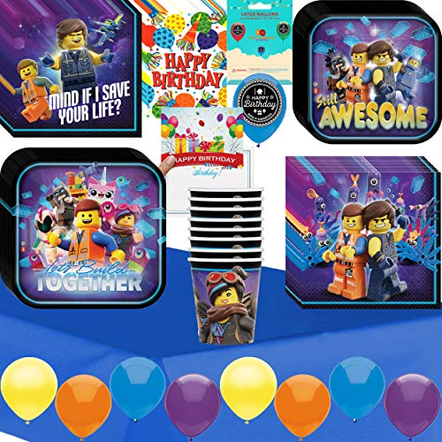 Lego Movie 2 Birthday Party Supplies Bundle of Cups Plates Napkins Balloon Table Cover Happy Birthday Card and Treat Bags Bundle