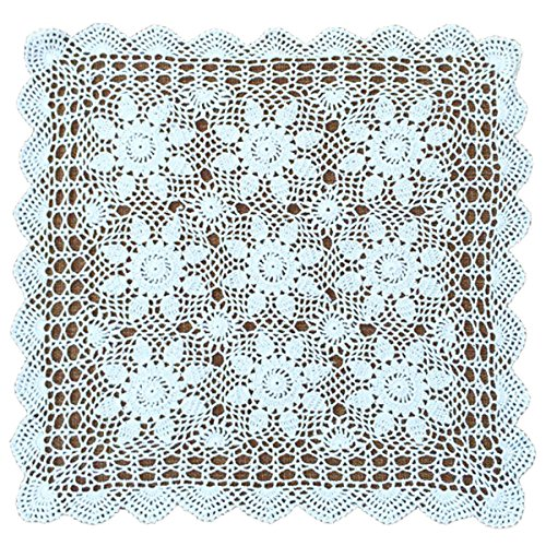 (YoumeHome Vintage Hand Crochet Doilies Cotton Lace Square for Table Sofa Decorating 60 cm/24'' (Pack of 2) (White))