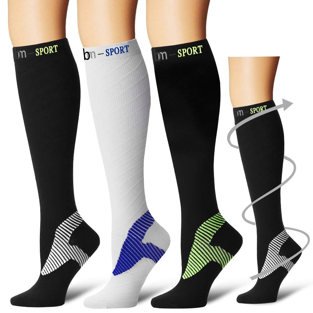 Laite Hebe Compression Socks,(3 Pairs) Compression Sock Women & Men - Best Running, Athletic Sports, Crossfit, Flight Travel(Multti-colors17-S/M)
