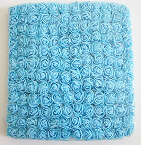 Artfen Mini Fake Rose Flower Heads 144pcs Mini Artificial Roses DIY Wedding Flowers Accessories Make Bridal Hair Clips Headbands Dress (bottom add gauze) Blue