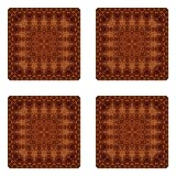 Ambesonne Antique Coaster Set Four, Vintage Lacy Persian Arabic Pattern from Ottoman Empire Palace Carpet Style Art, Square Hardboard Gloss Coasters Drinks, Orange Brown