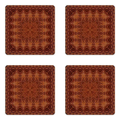 Ambesonne Antique Coaster Set of Four, Vintage Lacy Persian Arabic Pattern from Ottoman Empire Palace Carpet Style Art, Square Hardboard Gloss Coasters for Drinks, Orange Brown