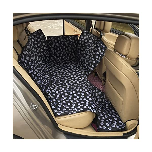 Waterproof Pet Dog Car Seat Cover Double Oxford Pet Travel Hammock Foldable Back Seat Protector Mat Paw Prints