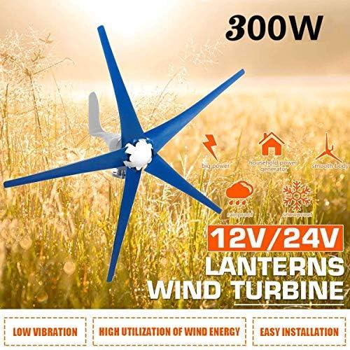 CTO 300W 5 Blades 12V / 24V Wind-Turbinen-Generator Horizontal Windgenerator mit Controller-Windmühle Energieanlagen Gebühr für den Freizeitbereich für Batterien aufladen,24V