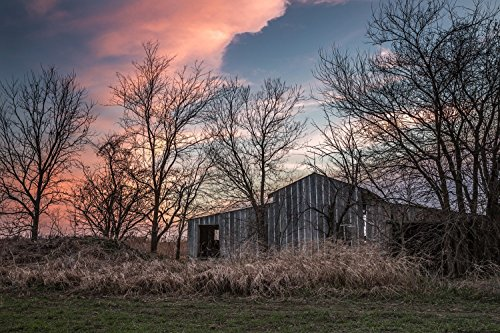 print-of-weathered-shed-in-southeast-kansas-at-sundown-rural-and-country-photography-print-rustic-bu