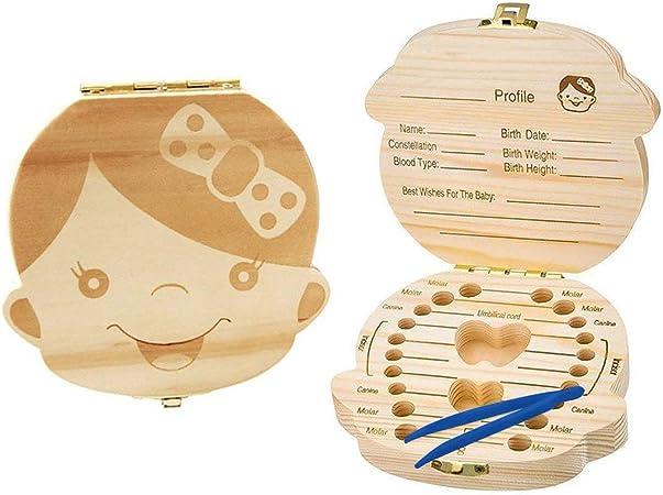 Dent en Bois Bo/îte Souvenir pour Filles Xrten B/éb/é Dents Box /économiser de lOrganiseur