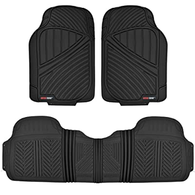 FlexTough Baseline, Heavy Duty Rubber Floor Mats 3pc Front & Rear for Car SUV Truck Van, 100% Odorless BPA-Free & All Weather Protection: Automotive