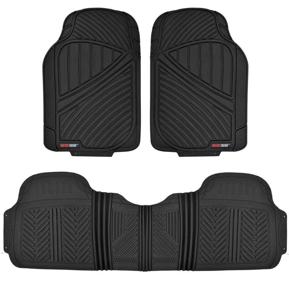MotorTrend FlexTough Baseline - Heavy Duty Rubber Floor Mats, 100% Odorless & BPA Free (Black)