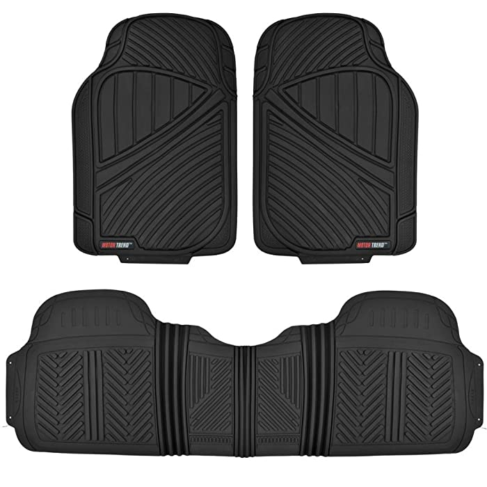 Motor Trend MT-773-BK Black FlexTough Baseline-Heavy Duty Rubber Floor Mats for Car SUV Truck Van, 100% Odorless & All Weather Protection