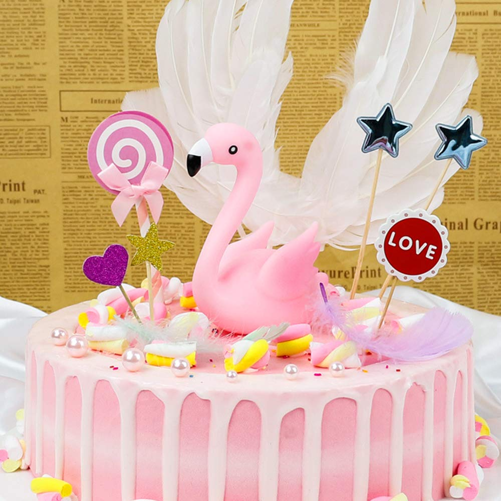 Party Decoration for Wedding Birthday Party YIJIAOYUN Cute Girl Flamingo Cake Topper