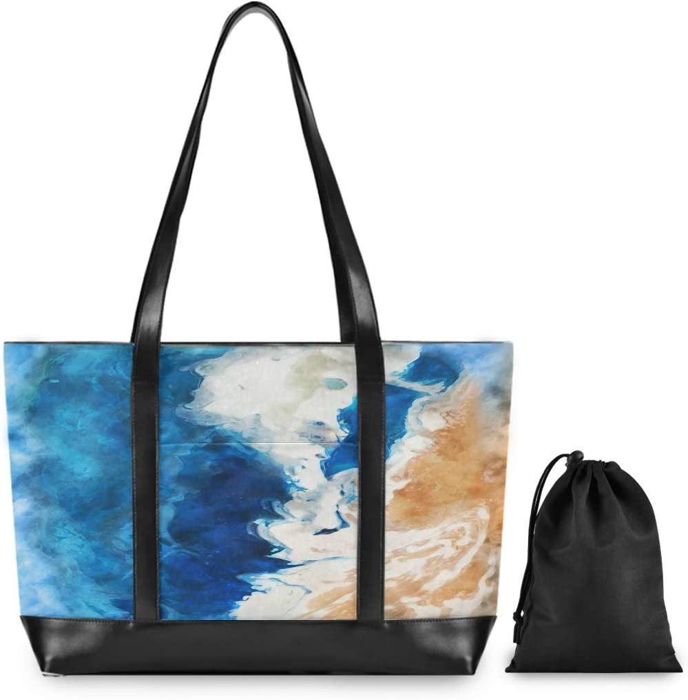 Large Woman Laptop Tote Bag Watercolour Beach Sea Spray Canvas Shoulder Tote Bag Fit 15.6 Inch Computer Laptop Bags for Work School Trekking Shopping