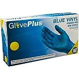 AMMEX - IVBPF44100-BX - Vinyl Gloves - GlovePlus - Disposable, Powder Free, Non-Sterile, 4mil, Medium, Blue (Box of 100)