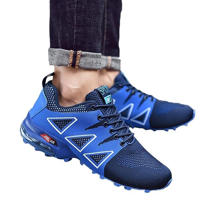 JiaMeng Zapatillas de Correr Hombre Casual Cómodas Calzado Deportivo Zapatos Planos de montañismo al Aire Libre Zapatillas de Malla Antideslizantes con ...
