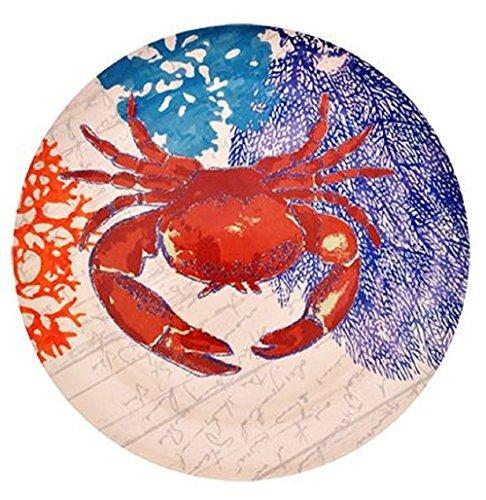 Sea Life Melamine Plates, Turtle, Crab, Coral, Ocean, Seashells, 4-ct Set