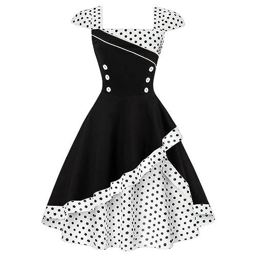 DressLily –  Vestito  – linea ad a – A pois – Senza maniche  – Donna