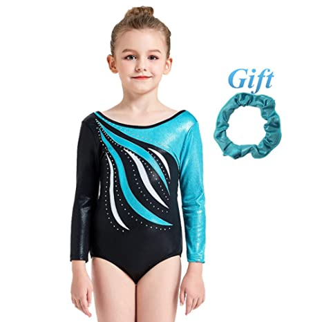 Hougood Gymnastic Leotards for Girls Ballet Dance Bodysuit Stripes Diamond  Ballet Leotard Long Sleeve Dance Costumes 39e2ee4d13c92
