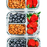 [3-Pack] Glass Meal Prep Containers 3 Compartment - Glass Food Storage Containers - Glass Storage Containers with Lids - Divided Glass Lunch Containers Food Container - Bento Box Glass Food Container