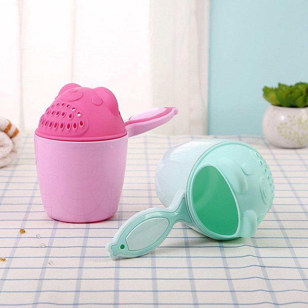 YeahiBaby Haarsp/ülbecher Baby Shampoo Aussp/ülhilfe Dusche Kappen B/är Form Badespielzeug Gr/ün