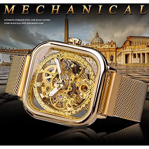 GUOJIAYI Mekanisk klocka för män automatisk slingrande guldnät stålklocka